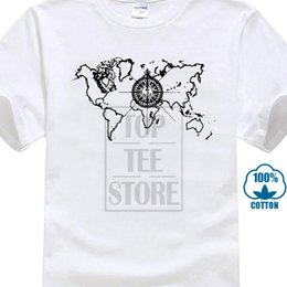 $enCountryForm.capitalKeyWord NZ - Summer Novelty Cartoon T Shirt Summer Casual Men's T Shirt World Map Compass Cool Graphic 100% Cotton Tee Novelty Short Vintage