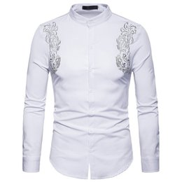 $enCountryForm.capitalKeyWord Australia - Chinese Embroidery Men Dinner Shirts Europe Size 2XL White Loose Blusa Man Tops Stand Collar Vintage Floral Male Shirt Hot Sale