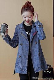 Wholesale women denim trench coat resale online - Denim Womens Trench Coats Autumn Long Sleeve Lapel Neck Ladies Outerwear Casual Single Breasted Loose Womens Coats