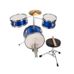 "$enCountryForm.capitalKeyWord NZ - 13""x8"" 3-Pieces Junior Kids Child Drum Set Kit Pedal Drum Stick Wrench Drum Stool Blue"