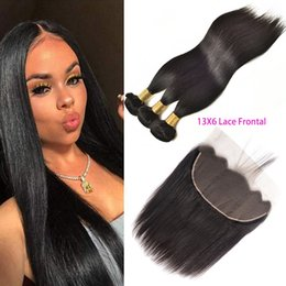 human hair bundle set Canada - Peruvian Human Hair 13X6 Lace Frontal With 3 Bundles Straight Virgin Hair Products 4PCS One Set Straight Hair Wefts With 13X6 Frontal