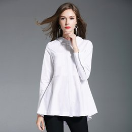 long sleeve ruffle blouses Australia - High Quality Slim Pur Cotton White Blouse Fashion Style Romantic Mid-long Shirt Tops Ruffles Long Sleeves High Waist for Women Shirt