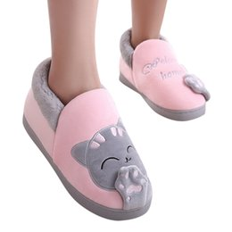 970ae2d2cb1b Xiniu New Women slippers Fashion Winter Home Short Plush Slippers Cartoon  Cat Non-slip Warm Indoors Bedroom Floor Shoes