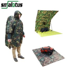 poncho tents Australia - Wholesale- 3 in 1 Multifunctional Raincoat Outdoor Travel Rain Poncho Backpack Rain Cover Waterproof Tent Awning Climbing Camping Hiking