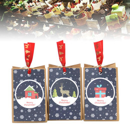 kraft christmas bag Australia - 30 Kraft Paper Christmas Bags Christmas Pattern Square Bottom Bag Dining West Point Packing Paper Bag
