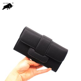 hasp wallet purse UK - 2019 New Fashion Women Wallets Drawstring Leather Zipper Wallet Women's Long Design Purse Two Fold More Color Clutch
