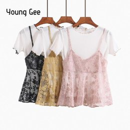 $enCountryForm.capitalKeyWord NZ - Young Gee Summer Women Knitted Blouses Short Sleeve Tops With Lace Floral Camis Spaghetti Strap Vest Casual Two Piece Sets Shirt