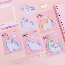 Wholesale Cute Unicorn Memo Pad Cartoon Planner Stickers Sticky Notes Stationery Label office School Supplie Notepad escolar