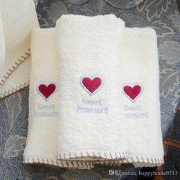Towels Designers NZ - Luxury bath towels designer red heart shape embroidery towel high quality cotton material 35*75cm Christmas gift towel