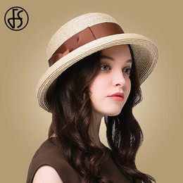 f4bf8468 wholesale Elegant Raffia Straw Hat For Women Summer Wide Brim Sun Hats  Beach Floppy Bowknot Fedora Ladies Cloche Visor Caps
