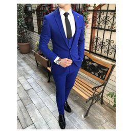 $enCountryForm.capitalKeyWord NZ - Royal Blue Men Suit For Wedding Two Button Slim Fit Men Formal Party Tuxedo 3 Piece Suit (Jacket+Pants+Vest+Tie)