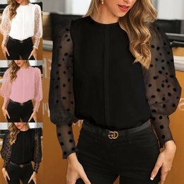 Donne See-Through Sheer Mesh Dot Puff maniche lunghe camicetta T-shirt Camicie