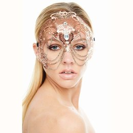 Venetian chain online shopping - Elegant Phantom Rose Gold Wedding Party Mask Women Chain Costume Venetian Filigree Metal Laser Cut Cosplay Masquerade Mask