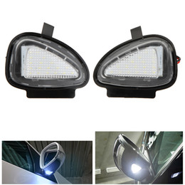 Discount vw golf mirrors - 2x 18 3528 SMD White LED Under Side Mirror Puddle Lamps for VW CC Golf 6 Cabriolet Passat (B7) Touran 6000-6500K 12V