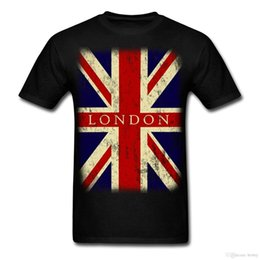 Cheap Cotton Flags Australia - Vintage UK London Flag Men's T-Shirt Cotton Low Price Top Tee For Teen Boys Cheap Price 100 % Cotton Tee Shirts Basic Models