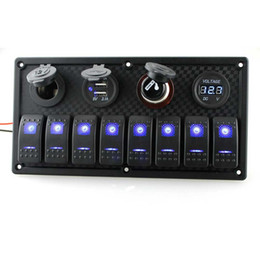 Wholesale 8 Gang Switch Panel Car Styling Waterproof 12V Car Auto Boat Marine Blue Led ON-OFF Rocket Switch Cigaretter Lighter Dual Charger Voltmeter