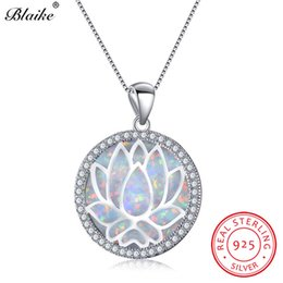 9db0971b0d Blaike 925 Sterling Silver Rainbow Lotus Flower Pendants White Blue Fire  Opal Birthstone Necklaces For Women Zircon Fine Jewelry