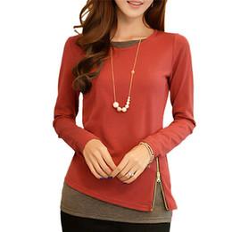 vintage blouse cotton 2019 - 2017 New Autumn Women Casual Blouses O-neck Long Sleeve Fake Two Pieces Vintage Tops Slim Tees Orange Black Purple 3 Col