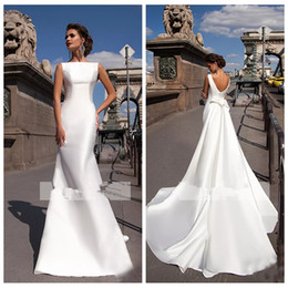 Discount boat neck mermaid wedding dress - 2019 Scoop Satin Mermaid Wedding Dresses Slim New Boat Neck Sleeveless Fitted Long Bridal Gowns With Detachable Train Bo