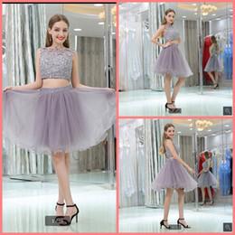 $enCountryForm.capitalKeyWord Australia - Vestido De Festa 2019 silver lace appliques beaded sequins short prom dresses two piece sleeveless petite girls cheap prom gowns best sale