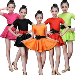 Wholesale latin dances costumes for sale - Group buy Latin Dance Dress for Ballroom Dancing Solid Flower Baby Girl Stage Performance Clothing Costumes Adult Female Pleated Skirt