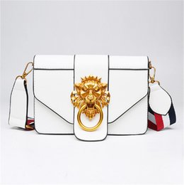 $enCountryForm.capitalKeyWord UK - NEW Fashion Wide Shoulder Strap Women Shoulder Bags Metal Lion Head Decorative Flap Bag Designer Handbags High quality