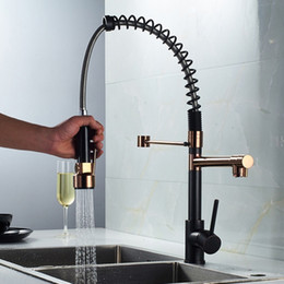 $enCountryForm.capitalKeyWord Australia - Rose Gold   Black with Rose Gold Kitchen Spring Faucet Pull Down Dual Spouts Single Handle Mixer Tap 360 Rotation Kitchen Mixer Tap