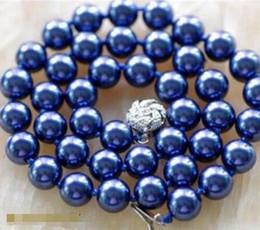 $enCountryForm.capitalKeyWord UK - Prett Lovely Women's Wedding DSX754 FREE shipping> >>>>Beautiful! 10MM Navy blue Sea Shell Pearl Necklace