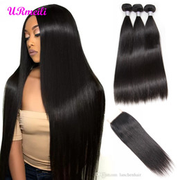 Hair India Australia - india straight hair weave Bundles With Closure grade 9a hair bundles With Closure indian Remy Human Hair 3 4 Bundles With Closure vendors