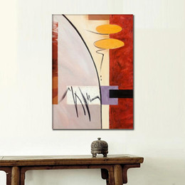 Discount line art wall painting High quality Alfred Gockel oil paintings reproduction Silver Lining abstract art hand-painted picture Red yellow black f