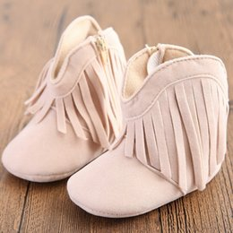 newborn shoes brands 2019 - 2019 Brand Newborn Infant Baby Boy Girl Soft Sole Fashion Boots Tassels Moccasins Solid Fringe Baby Shoes 0-18M 710 chea