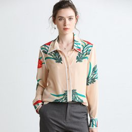 14cd7e03510eee 2019 100% Pure Silk Women s Runway Shirts Turn Down Collar Long Sleeves  Piping Floral Fashion Shirts Blouses