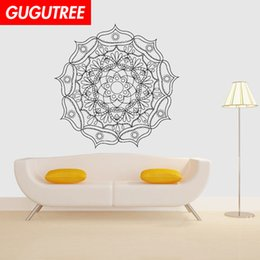 nature flowers wallpapers UK - Decorate Home India Buddhism mandala flower art wall sticker decoration Decals mural painting Removable Decor Wallpaper G-1103