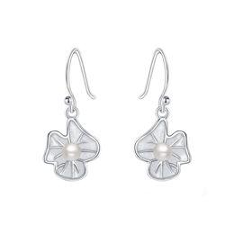 $enCountryForm.capitalKeyWord Australia - Women's Ear Jewelry 925 Sterling Silver Dangle Drop Lotus Leaf Shell Pearl Earrings Handcraft Chinese Style