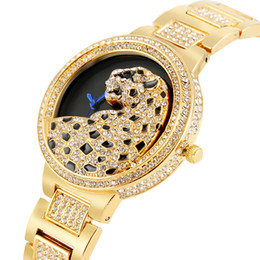 Fashion Leopard Watches Australia - Elegant Quartz Analog Watches for Lady Creative Diamond Leopard Pattern Dial Watch for Women Premium Alloy Band with Hook Buckle Wristwatch