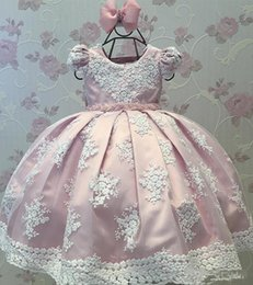 Wedding Vest Pink Australia - Pink With White Applique Girls Pageant Dresses For Wedding Pearls Satin First Communion Dress Party Princess Birthday Flower Girl Dress