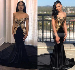 ce6c9ba8d1e White Off Shoulder Spandex Dress NZ - Elegant Black Gold Metal Appliqued Mermaid  Prom Dresses Off