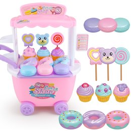 DIY Pretend Play Dessert Car Cake Shop Kitchen Ice Cream Food Role Play Miniature Toys Girls Educational Toy Gift for Children Y200428 on Sale