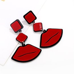 red plastic lips Canada - Free DHL Big Red Lip Pendant Earrings Jazz Super Exaggerated Fashion Acrylic Earrings Stud for Women Charm Accessories Jewelry