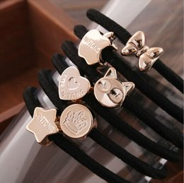 $enCountryForm.capitalKeyWord NZ - Hair Band Jewelry Elegant Brand New Fashion Women Gold Plated Star Crown Heart Black Rope Pony Tails Holder Jewelry Wholesale LHR006