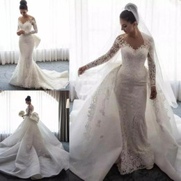 Chinese  Sheer Neck Appliqued Lace Mermaid Wedding Dresses Overskirts Long Sleeve African Bridal Dress With Detachable Train Wedding Gowns Vestidos manufacturers