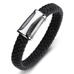 Discount stainless steel fashion cuff - Men Jewelry Punk Braided Leather Bracelet for Men Stainless Steel Magnetic Clasp Fashion Bangles Gifts