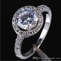 diamonique rings Australia - Pop Goood4store Brand Jewelry Lady's 10KT White Gold Filled White Sapphire Cubic Zirconia Stone Diamonique Wedding Rings Gift for Women
