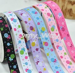 $enCountryForm.capitalKeyWord Australia - 9mm, 16mm,25mm, 38mm Candy Lollipops Print Grosgrain Ribbons for DIY Craft,Zakka,Hair Bow,Sewing,Packaging ribbon,Tape 100yards