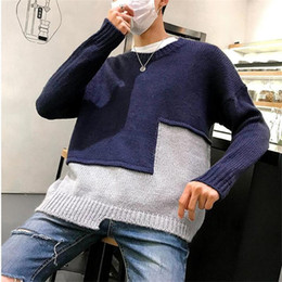 $enCountryForm.capitalKeyWord Australia - New loose double color patchwork Korean fashion men sweaters pullover streetwear casual homme jumper knitwear