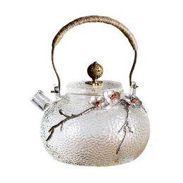 Retro Hammer Pattern Japanese Glass Teapot Handmade Heat Resistant Glass Tea Kettle Pot with Bronze High Handle 650ml   22 oz on Sale