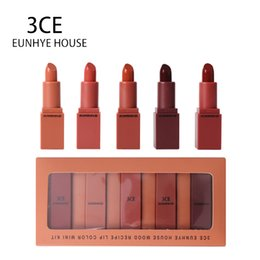 3ce Wholesale Lipstick Australia - 3CE EUNHYE HOUSE Lipstick Makeup batom lip balm Beauty 5 lip tint matte colors in 1 set fashion set Lasting waterproof lipstick