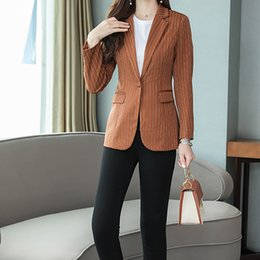 Wholesale slim suit jacket girl for sale – winter Lady Womens Girl Girlish Fashion Formal Suit Casual Jacket Tailored Slim Suit Business Casual Striped Colors B102295Z