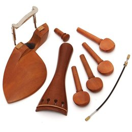 violin pegs UK - Profissional 4 4 Violin Jujube Material Chinrest Tailpiece Tuning Peg Endpin Kit