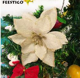xmas tree decorations flowers 2019 - FEESTIGO 10PCS Artificial Flowers Christmas Decorations For Home Christmas Tree Ornaments Xmas Tree New Year Decor Navid